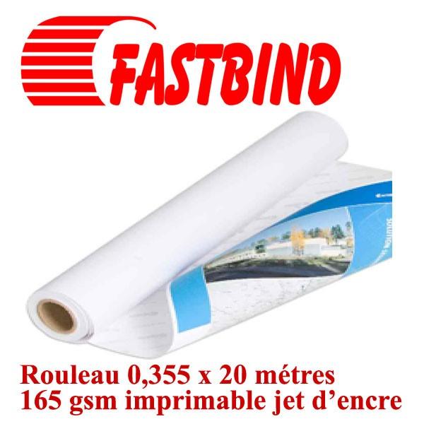 Rouleau adhésive 0,355 x 20 métres 165 gsm#Imprimable jet d'encre #Le rouleau