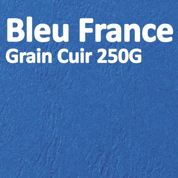 Couverture Carton Grain Cuir Bleu de France 250g#Le paquet de 100 feuilles