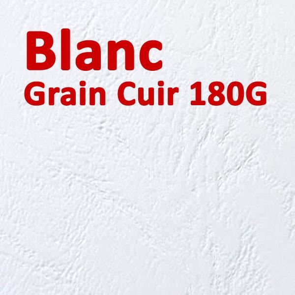 @Couvertures Emboîtage Dos Carré Collé # Face transparent + Dos Carton # Grain Cuir Blanc 180g Boite de 100 Pcs