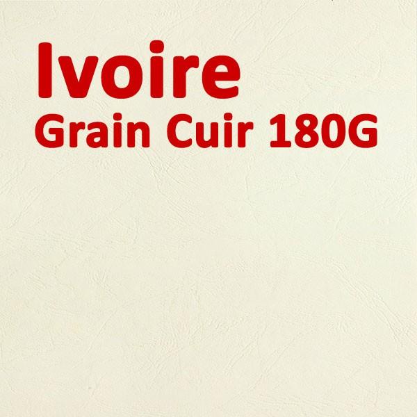 Couvertures Emboîtage Dos Carré Collé # Face transparent + Dos Carton # Grain Cuir Ivoire 180g Boite de 100 Pcs