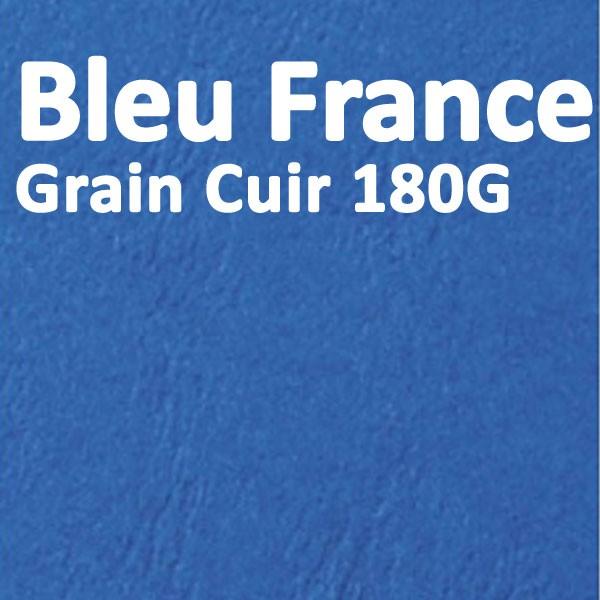 Couvertures Emboîtage Dos Carré Collé # Face transparent + Dos Carton # Grain Cuir Bleu de France 180g Boite de 100 Pcs