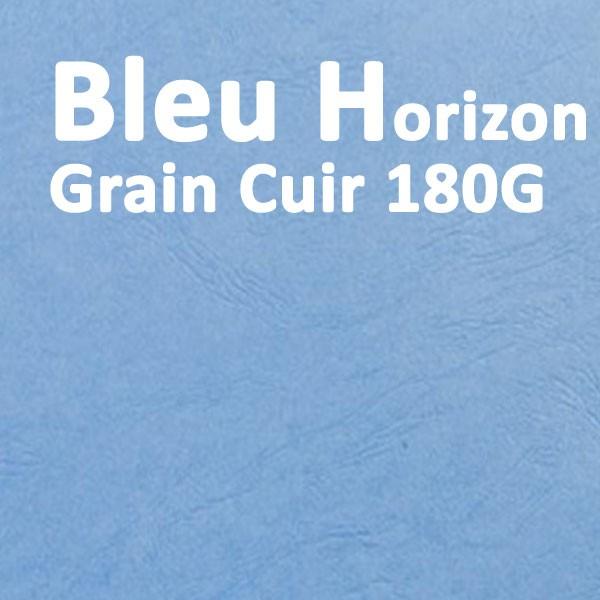 Couvertures Emboîtage Dos Carré Collé # Face transparent + Dos Carton # Grain Cuir Bleu Horizon 180g Boite de 100 Pcs