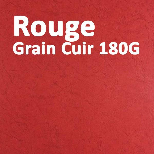 Couvertures Emboîtage Dos Carré Collé # Face transparent + Dos Carton # Grain Cuir Rouge 180g Boite de 100 Pcs