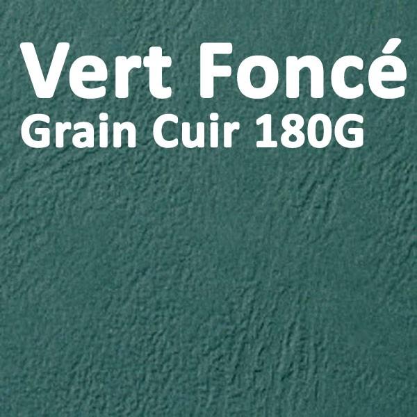 Couvertures Emboîtage Dos Carré Collé # Face transparent + Dos Carton # Grain Cuir Vert 180g Boite de 100 Pcs