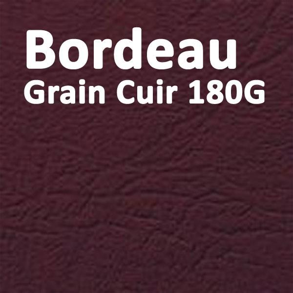 Couvertures Emboîtage Dos Carré Collé # Face transparent + Dos Carton # Grain Cuir Bordeaux 180g Boite de 100 Pcs