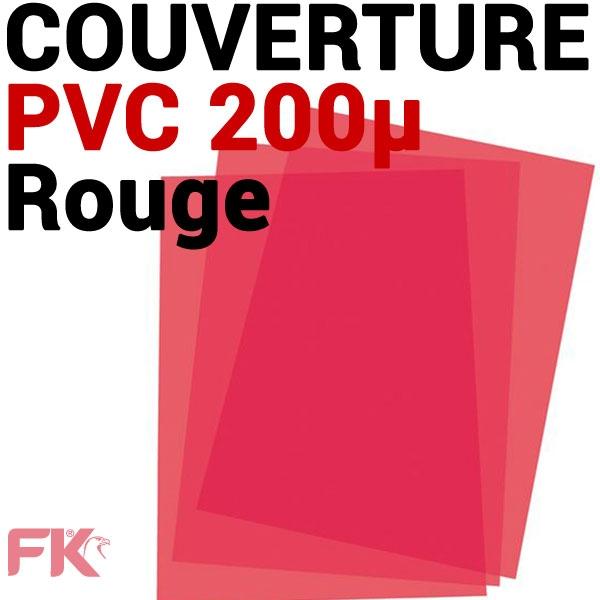 Couverture PVC 20/100 transp. Rouge #Le paquet de 100 feuilles