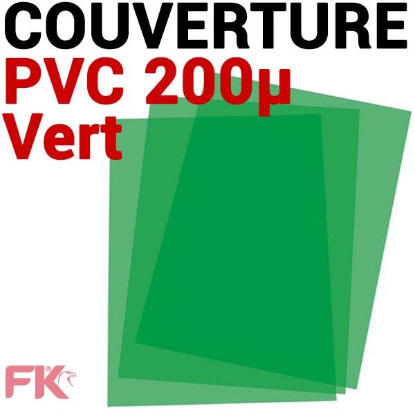 Couverture PVC 20/100 transp. Vert #Le paquet de 100 feuilles