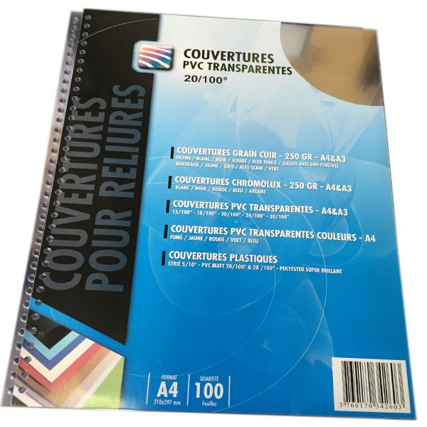 Couverture PVC 20/100 perforation 34 Trous en  3:1 rond #Le paquet de 100 feuilles