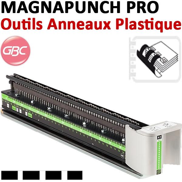 Bloc-outil Anneaux plastique MAGNAPUNCH PRO#Pas 14,28mm 21 trous rectangles relier de 2 à 450 feuilles#REF 7705644
