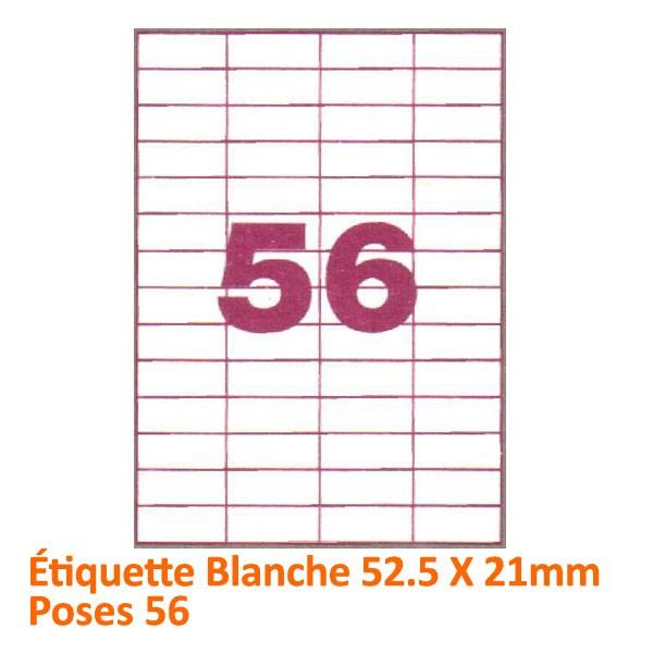 Étiquette Blanche 52.5 X 21 Poses 56 #Le paquet de 100 feuilles