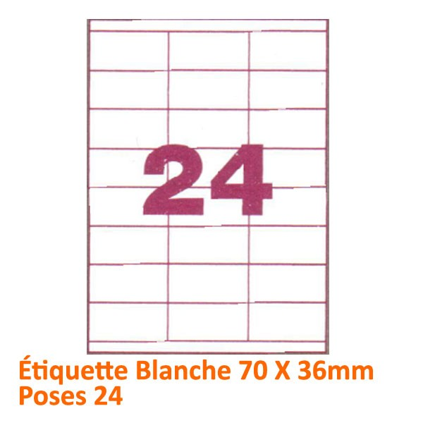 Étiquette Blanche 70 X 36 Poses 24# Le paquet de 100 feuilles