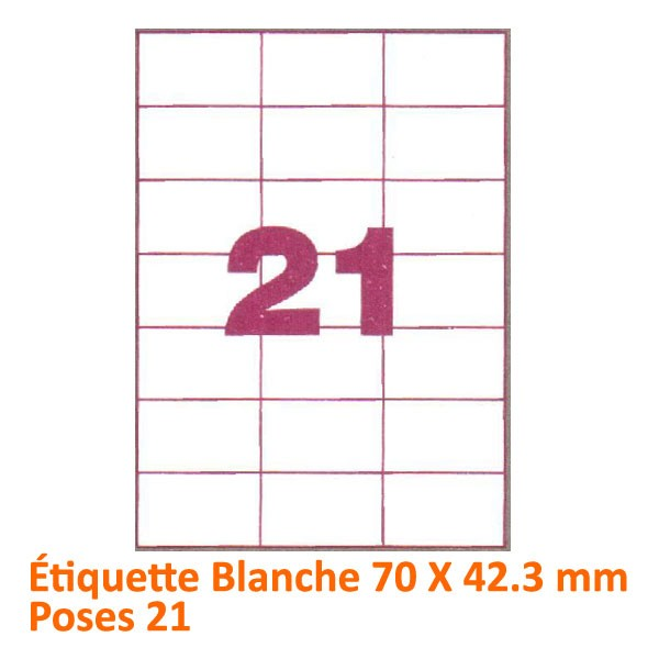 Étiquette Blanche 70 x 42 Poses 21#Le paquet de 100 feuilles