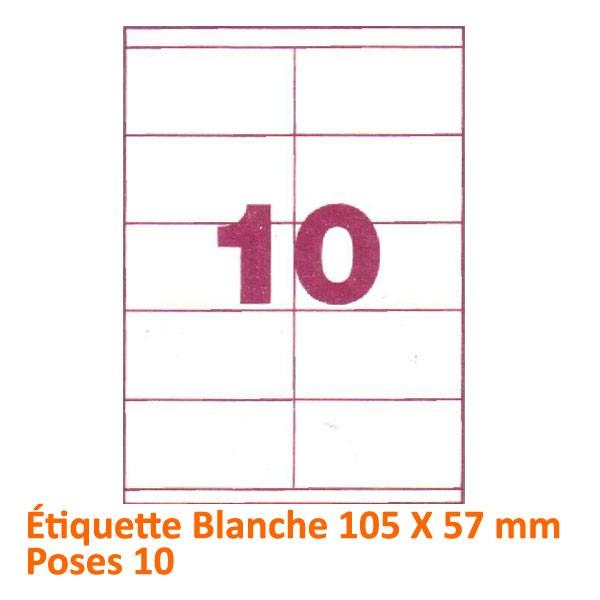 Étiquette Blanche 105 x 57 Poses 10#Le paquet de 100 feuilles