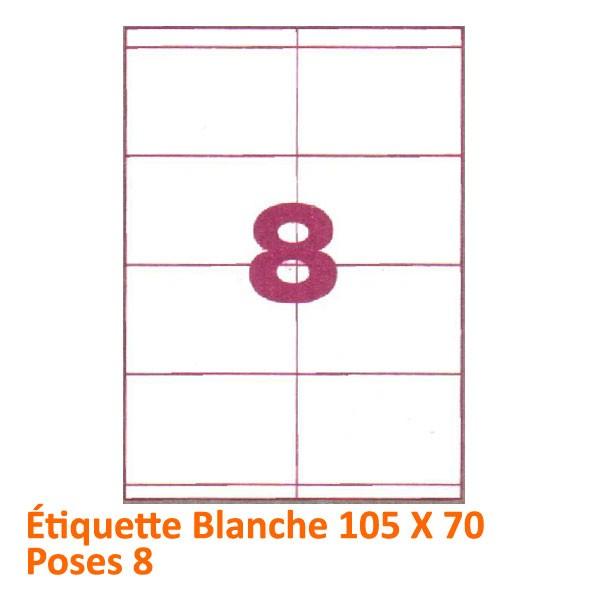 Étiquette Blanche 105 X 70 Poses 8#Le paquet de 100 feuilles