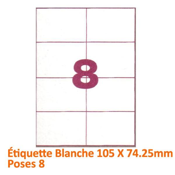 Étiquette Blanche 105 X 74.25 Poses 8#Le paquet de 100 feuilles