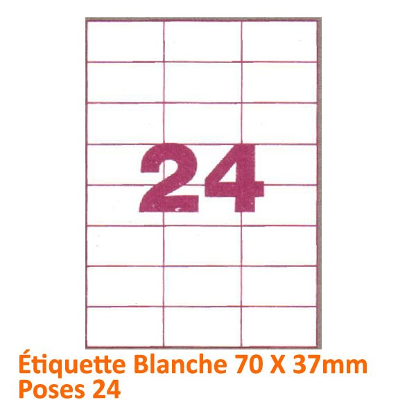 Étiquette Blanche 70 X 37 Poses 24#Le paquet de 100 feuilles
