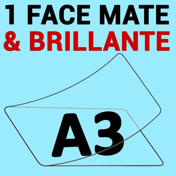 A3 (303mm x 426mm) 1 face Mat & 1 face Brillante#Boite de 100 pièces