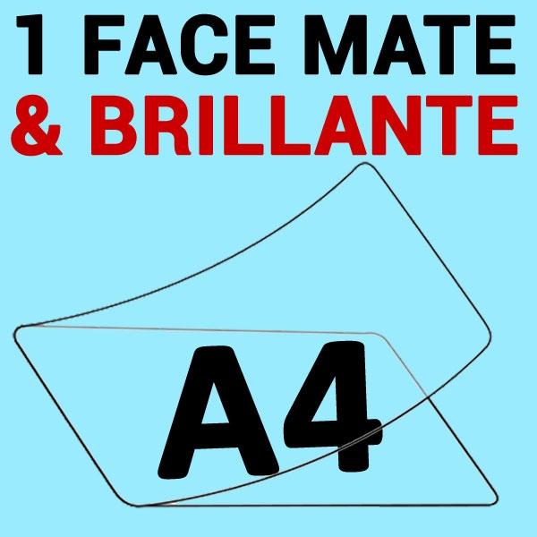 A4 (216mm x 303mm) 1 face Mat & 1 face Brillante#Boite de 100 pièces