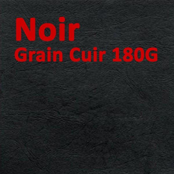 Couvertures Emboîtage Dos Carré Collé # Face transparent + Dos Carton # Grain Cuir Noir 180g Boite de 80 Pcs