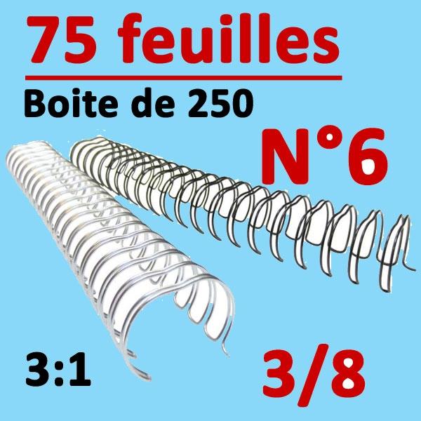 N°6: 9.5mm 75 feuilles 3/8 Pas 3:1 #Boite de 250pcs