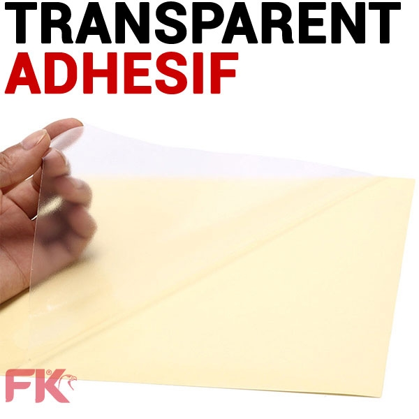Film Transparent Adhesif Laser Couleur brillant 150µ#Paquet de 100 feuilles