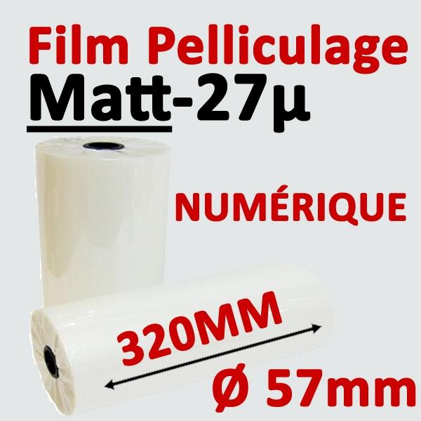 Film Pelliculage MATT# Largeur 320mm Ø 5.7cm #Vendu par 2 Rouleaux de 250 mètres