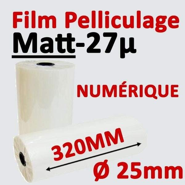 Film Pelliculage MAT# Largeur 320mm Ø 2.5cm #Vendu par 2 Rouleaux de 250 mètres