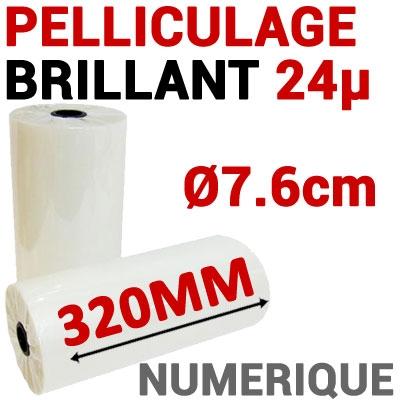 Film Pelliculage DERPROSA Numérique BRILLANT 24μ# Largeur 320mm Ø 7.6cm# Vendu par 1 Rouleau de 500 mètres