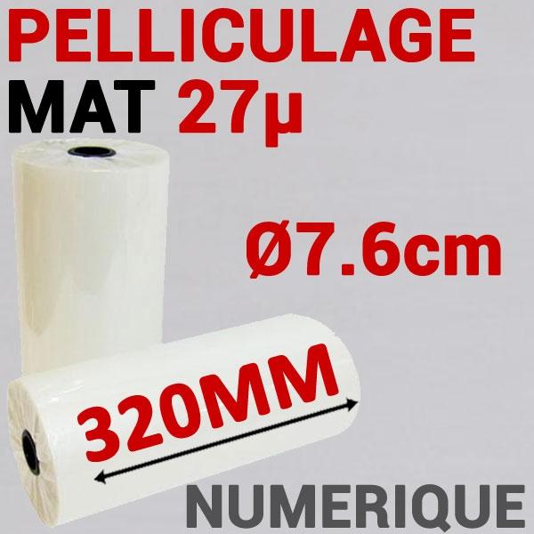 Film Pelliculage DERPROSA Numérique MAT 27μ# Largeur 320mm Ø 7.6cm# Vendu par 1 Rouleau de 500 mètres