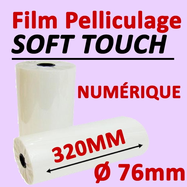 Film Pelliculage DERPROSA Numérique SOFT TOUCH 35μ# Largeur 320mm Ø 7.6cm# Vendu par 1 Rouleau de 500 mètres