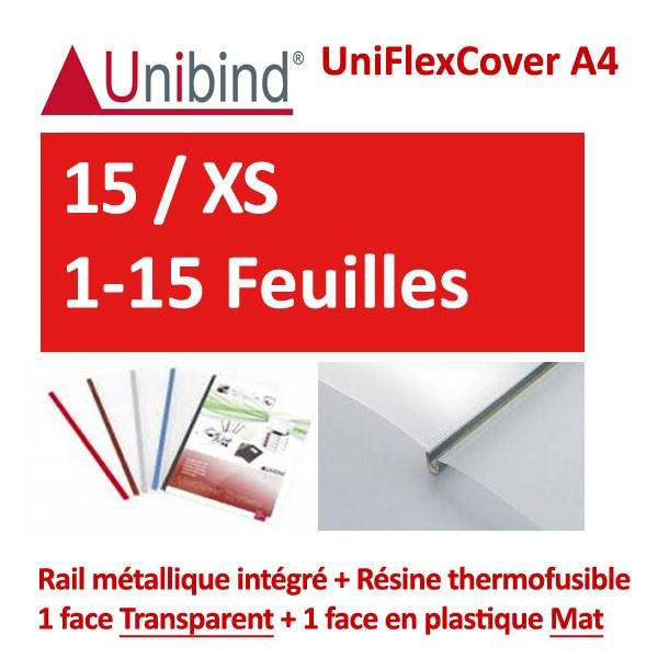 UniFlexCover A4 - 15 / XS 1-15 Feuilles #1 face transparent +1 mat +Rail métallique intégré #Boite de 110