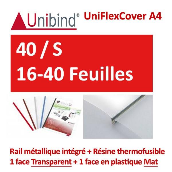 UniFlexCover A4 - 40 / S 16-40 Feuilles #1 face transparent +1 mat +Rail métallique intégré #Boite de 96