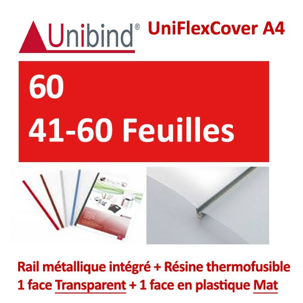 UniFlexCover A4 -60- 41-60 Feuilles Feuilles #1 face transparent +1 mat +Rail métallique intégré #Boite de 88