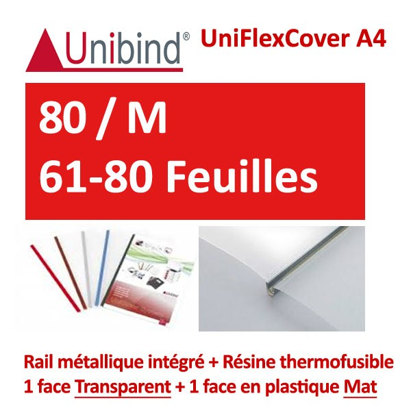 UniFlexCover A4 -80 / M 61-80 Feuilles #1 face transparent +1 mat +Rail métallique intégré #Boite de 72