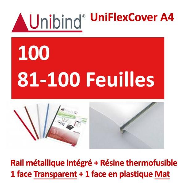 UniFlexCover A4 -100- 81-100 Feuilles #1 face transparent +1 mat +Rail métallique intégré #Boite de 60
