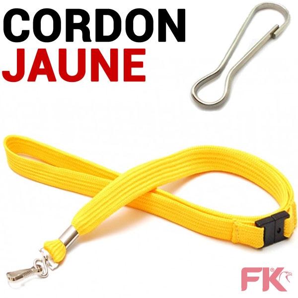 Cordon tour de Cou JAUNE  Longueur : 43 cm # +  Attache Mousqueton System anti-étranglement #Ref : CORDJA - Par 100 pièces