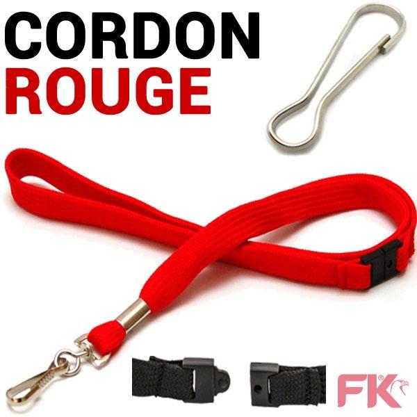 Cordon tour de Cou ROUGE  Longueur : 43 cm # +  Attache Mousqueton System anti-étranglement #Ref : CORDR - Par 100 pièces