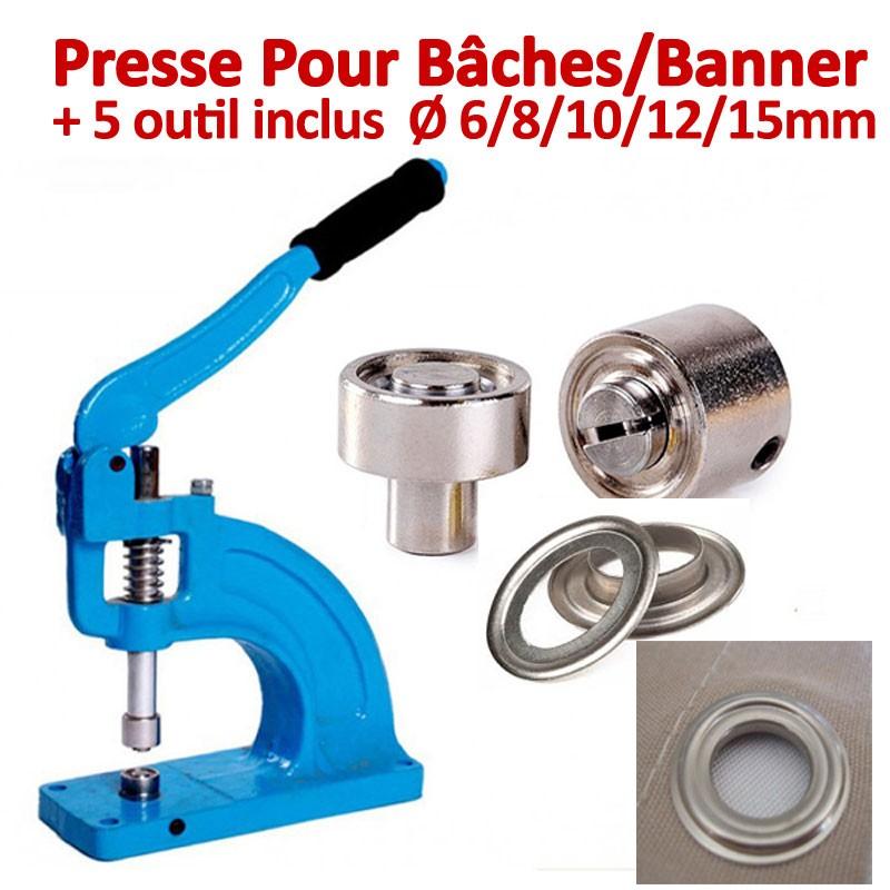 Presse Pour Bâches /Banner  inclus outils de Ø 6/8/10/12/15mm