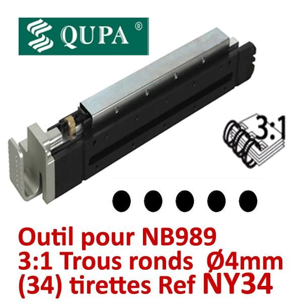@Bloc-outil anneaux métalliques Pas 3:1 pour NB989 #Pas 3:1 rond 34 trous ronds Ø4  pour relier de 2 à 120 feuilles #REF NY34