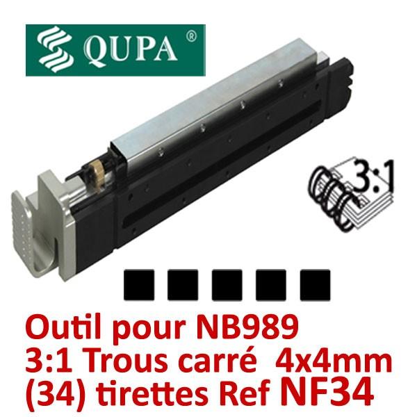 Bloc-outil anneaux métalliques Pas 3:1 pour NB989 #Pas 3:1 carré 34 trous carrés 4x4mm pour relier de 2 à 120 feuilles #REF NF34