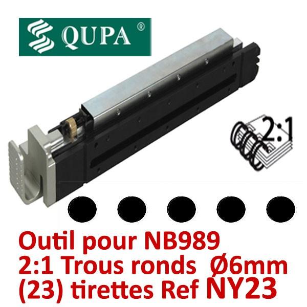 Bloc-outil anneaux métalliques Pas 2:1 pour NB989 #Pas 2:1 Trous ronds Ø6 mm  pour relier de 120 à 300 feuilles#REF NY23