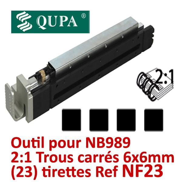 Bloc-outil anneaux métalliques Pas 2:1 pour NB989 #Pas 2:1 carré 23 trous carrés 6X6MM relier de 120 à 300 feuilles#REF NF23