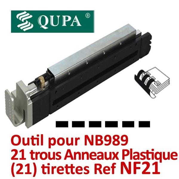 Bloc-outil Anneaux plastique pour NB989# Pas 14,28mm 21 trous rectangles relier de 2 à 450 feuilles#  REF NF21