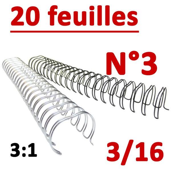 N°3: 4.8mm 20 feuilles 3/16  # Pas 3:1 (34 anneaux)# Boite de 100pcs