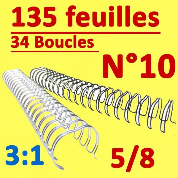 N°10: 16mm 135 feuilles 5/8  #Pas 3:1 (34 anneaux)#  Boite de 50pcs