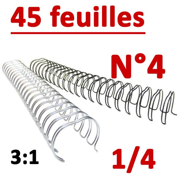 N°4: 6.4mm 45 feuilles 1/4  #Pas 3:1 (34 anneaux) #Boite de 100pcs