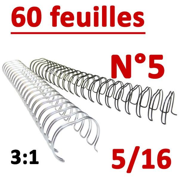 N°5: 8mm 60 feuilles 5/16  #Pas 3:1 (34 anneaux) #Boite de 100pcs