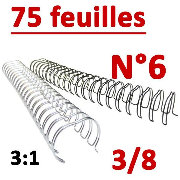 N°6: 9.5mm 75 feuilles 3/8  #Pas 3:1 (34 anneaux) # Boite de 100pcs