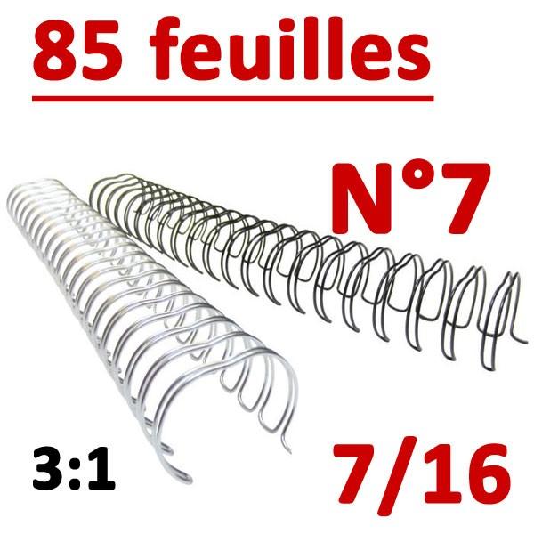 N°7: 11mm 85 feuilles 7/16  # Pas 3:1 (34 anneaux)# Boite de 100pcs