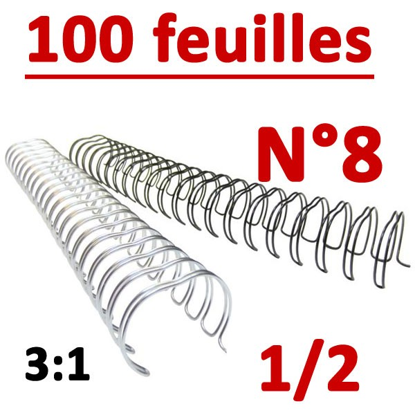 N°8: 12.7mm 100 feuilles 1/2  # Pas 3:1 (34 anneaux)# Boite de 100pcs
